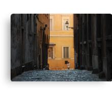 Orange Wall in a Roman Streetscape Canvas Print