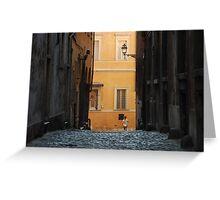 Orange Wall in a Roman Streetscape Greeting Card