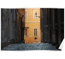 Orange Wall in a Roman Streetscape Poster