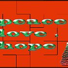 peace love hope red greeting card by Kristi Bryant