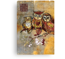 Patchwork Owls- Mixed Media Canvas Print