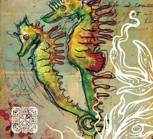 Seahorse Love - Mixed Media by Narelle Craven