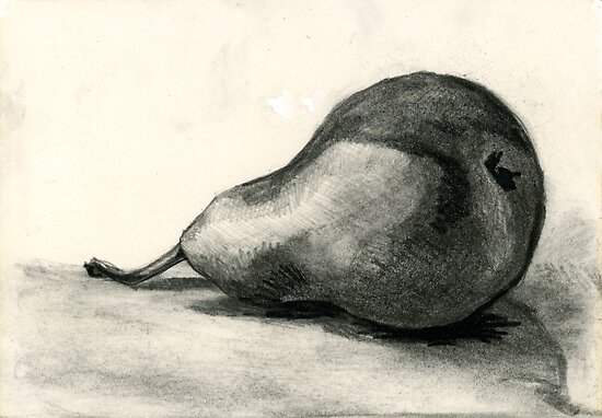 Pear, charcoal and pencil still life 2 by Emma Brooks-Mitrou