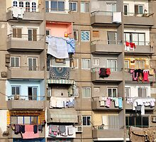 Balconies of Apartment Block, Cairo, Egypt  by Petr Svarc