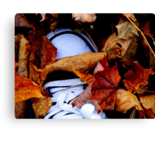 ...and he was buried under a blanket of fall... Canvas Print