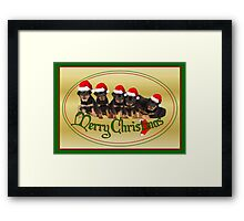 Merry Christmas Rottweiler Puppies Greeting Card Framed Print