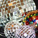 Glitter Ball Decorations - Tree hangings Greeting Card by Lynn Ede