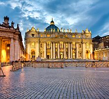 St Peters Cathedral Twilight Rome Italy by GJKImages