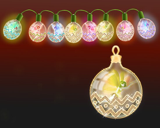 The Fairy Lights and Christmas Ball at night by Kartoon