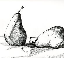 Pears, pen and ink by Emma Brooks