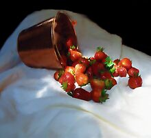 Brass Bucket And Strawberries by Barry W  King