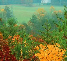 CHURCH IN FOG,AUTUMN by Chuck Wickham