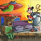 Love in the Attic - fantasy still life painting by LindaAppleArt