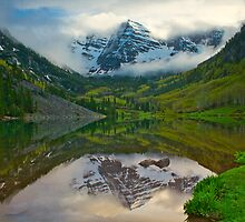 The Maroon Bells in Clouds Horizontal by Paul Gana