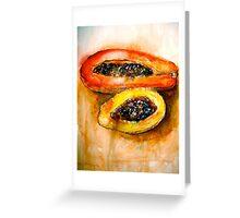 Still Life with Two Papayas Greeting Card