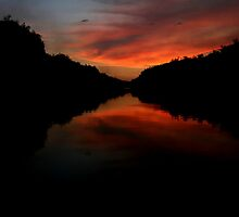 Bushfire sunset, Nitmiluk Gorge, Katherine, Northern Territory by Lynda Harris