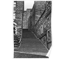 Drawing of Edinburgh street in pen & ink Poster