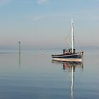 Blue Flat calm Morecambe Bay by Margaret Brown