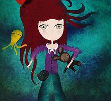 Toy fairycake tender octopus bear doll by Ruth Fitta-Schulz