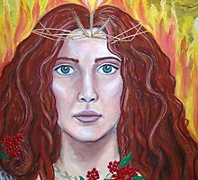 Brigid -Goddess of Fire- acrylic mixed media on canvas   by margotmythmaker