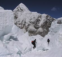 Mt. Everest Climbing coming through Khumbu icefall.  Amadablam at back by climber