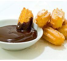 Churros in chocolate sauce Photographic Print