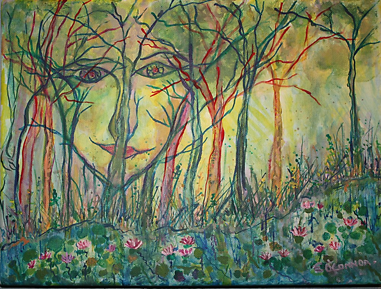 Nature Watching acrylic on canvas 9x13 by eoconnor