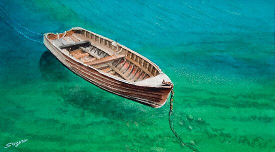 Wooden boat by Freda Surgenor