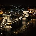 Chain bridge of Budapest at night by sanyi