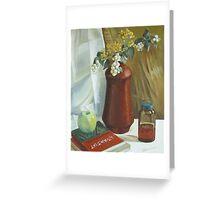 Ceramics vase and books Greeting Card