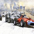 Red Car Ferrari 801 German GP 1957 by Yuriy Shevchuk