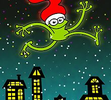 Christmas Frog Jumping out of Joy! by Zoo-co