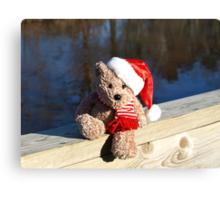 Christmas bear waiting for Santa Canvas Print