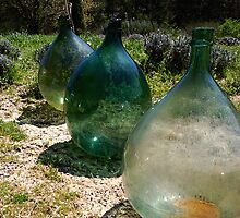 Hand Blown Glass Olive Jugs by Erin Kanoa