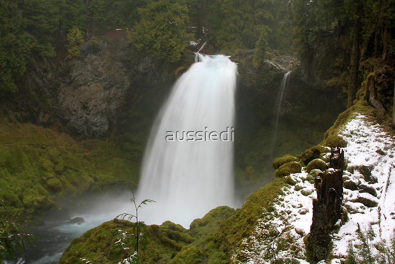 Sahalie Falls in the Snow by aussiedi