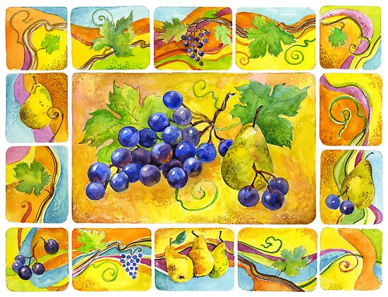 Vine bunch and pear by Svetlana Mikhalevich