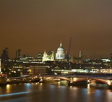 Evening Falls, London St Pauls from the Thames Embankment by Andrew Gilbert