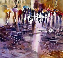 Umbrella's - Wet Street by Shirlroma
