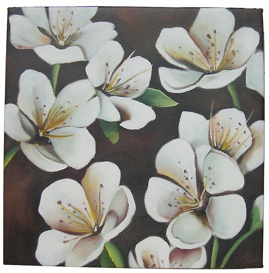 Chocolate Abstract Acrylics on Canvas, Flower HandPainting by diasha