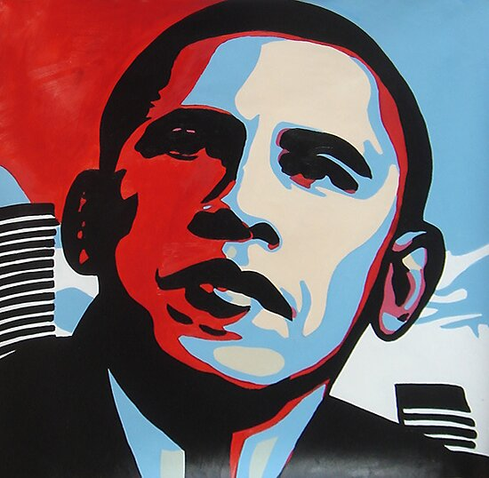 POP art for Obama Portrait, Acylics on Canvas, Framed art , oil painting by diasha