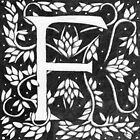"Art Nouveau ""F"" (William Morris inspired) by Donna Huntriss"