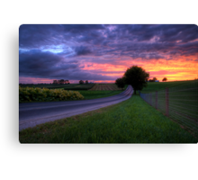 Sunset on a Country Road Canvas Print