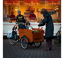In the 'bakfiets' to the 'oliebollenkraam' Photographic Print