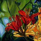 Red and Yellow Lilies by Maureen Whittaker