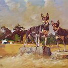 Two Farm Kelpies by Pieter  Zaadstra