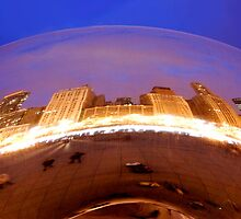 The Cloud Gate in Millenium Park Downtown Chicago by DianeBUhlman