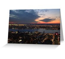 Twilight in the Sky, Sunset From Manhattan, New York City, Empire State Building Greeting Card