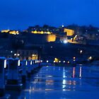 wet night on the marina-Malta Grand Harbour by C.S. Lawrence
