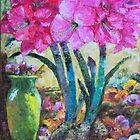 Blooming Pink Amaryllis & Yellow Vase by sharlesart