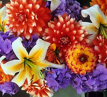 Clearly Summer, Dahlias & Lily #3 by Suzanne Lewis